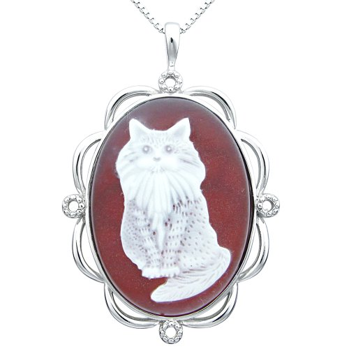 Sterling Silver Red Agate Cat Cameo Pendant Necklace, 18