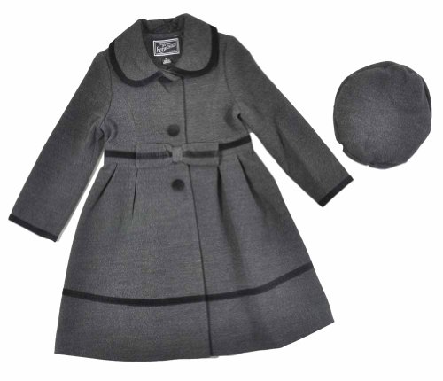 For Sale Rothschild Toddler Girls Charcoal Faux Wool Velvet Coat With Hat (4T)