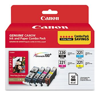 41GUl5znqxL 2945B011 Inks & Paper Pack, PGI 220, CLI 221, Black; Tri Color by CANON (Catalog Category: Computer/Supplies & Data Storage / Printer Supplies/Accessories)