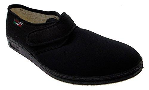 pantofola velcro cotone elasticizzato nero fisioterapia extra large 40 nero