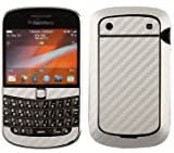 Skinomi TechSkin - Silver Carbon Fiber Film Shield &amp; Screen Protector for BlackBerry Bold 9900 + Lifetime Warranty