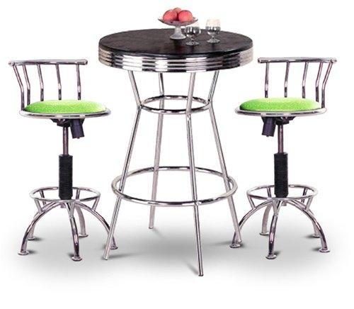 """Chrome Bar Table & 2 Chrome Adjustable 24""""-29"""" Glitter Green Vinyl Seat Barstools"""