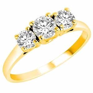 DivaDiamonds 14K Yellow Gold 3 Three Stone Round Brilliant Diamond Ring (4/5 cttw) - Size 6