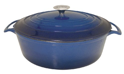 Le Cuistot Vieille France Enameled Cast-Iron 5.5 Quart Oval Dutch Oven - 2 Tone Blue