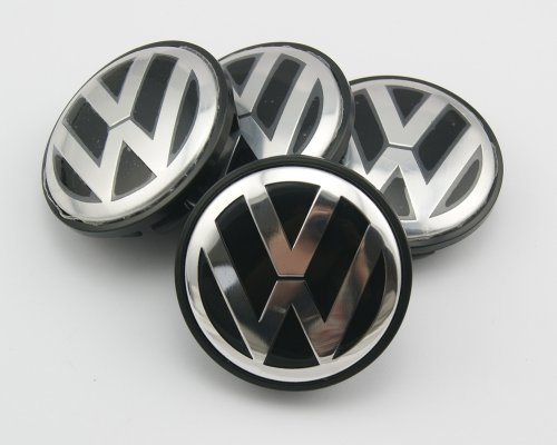 Car-Emall Volkswagen 56mm Outer Diameter Black Wheel Center Hub Caps 4-pc Set Special Offer (Vw Touareg Wheels compare prices)