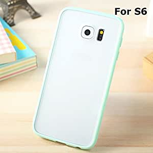 Galaxy S6 Hybrid Bumper Case, ANLEY Candy Trim Series - [Shock Absorption] Jelly Silicone Bumper with Frosted Clear Hard Back Cover for Samsung Galaxy S6 (Mint Green) + Free Screen Protector