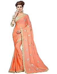 Oomph! Women's Chiffon Sarees Party Wear/Fancy Chiffon Sarees/Printed Chiffon Sarees