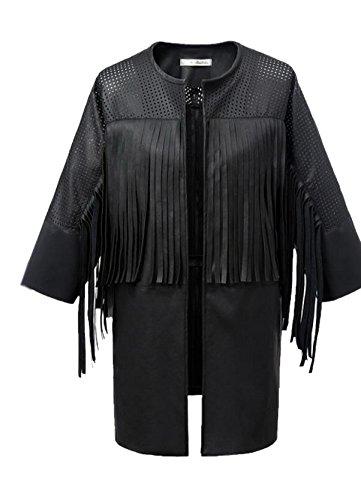 Lingswallow Black Women Tassel Fringed PU Jacket Winter Trench Coats Outwear L