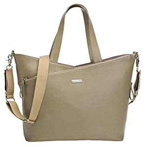 Storksak Lucinda Tote Diaper Bag - Taupe Textured Leather by Storksak