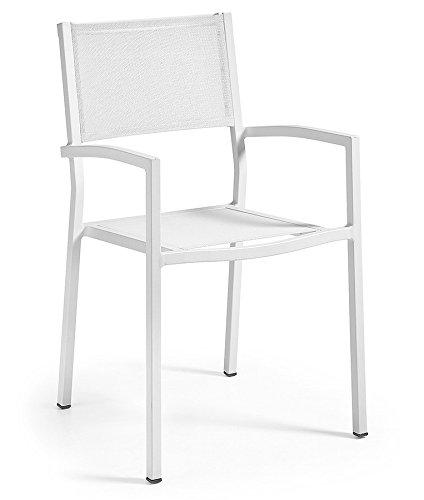 SHAY Silla Brazos Aluminio Blanco Textiline Blanco - SELECCIÓN CABANA