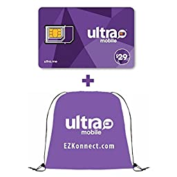 Ultra Mobile SIM Card with $29 Plan Preloaded and Drawstring Bag