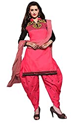 Shopping Point Pink Cotton Anarkali Unstitched Dress Material