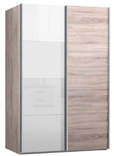 Schwebetrenschrank-Kleiderschrank-ca-150-cm-breit-Eiche-Sonoma-mit-Glas-Weiss-Schiebetrenschrank