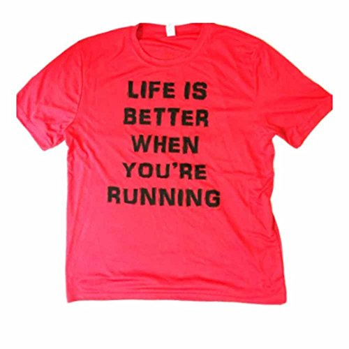 Life-is-Better-When-Youre-Running-Mens-Red-Dri-fit-Performance-Tech-shirt