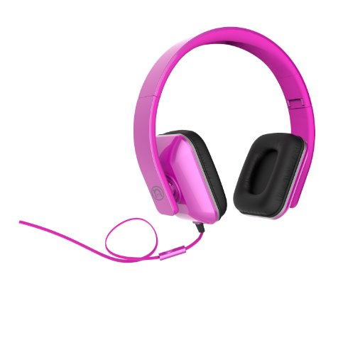 Ihip Ip-Neonnotes -Ps Dj Style Foldable Square Neon Series Color Headphone With Mic, Pink