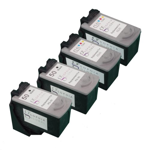 Sophia Global Remanufactured Ink Cartridge Replacement for Canon PG-50 and CL-51 (2 Black and 2 Color)