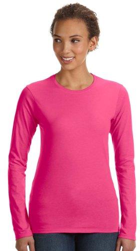 Anvil 374L Ladies Junior Fit Ringspun Long-Sleeve T-Shirt - Hot Pink - 'M front-554215