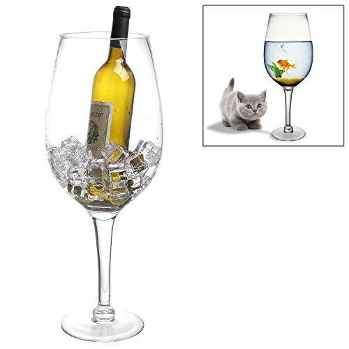 20 Inch Giant Clear Decorative Hand Blown Wine Glass Novelty Stemware / Champagne Magnum Chiller (Big Wine Glass compare prices)