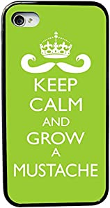 Rikki KnightTM Keep Calm and Grow a Mustache Lime Green Color Design iPhone 4 & 4s Case Cover (Black Rubber with bumper protection) for Apple iPhone 4 & 4s