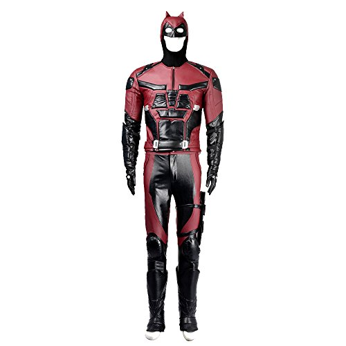 [HZYM Men's Daredevil Cosplay Costume Leather Deluxe Full Set (XXXL)] (Daredevil Costumes Replica)