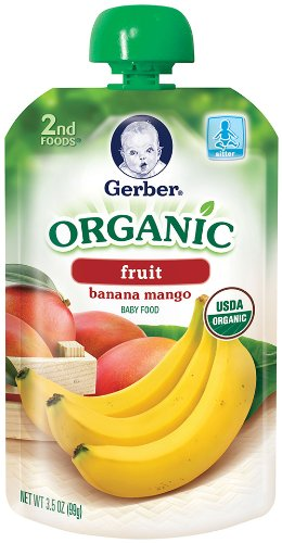 Gerber 2Nd Foods Organic Baby Food, Banana Mango, 3.5 Ounce Pouches (Pack Of 12) front-262415