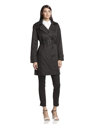 London Fog Women's Double-Breasted Trench  [Black]