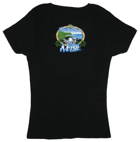 Maui Harley-Davidson Women's Road to Hana Black V-Neck Short Sleeve T-Shirt - Large