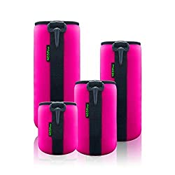 4 Pack Neoprene Camera Lens Protective Bag Lens Pouch Kits for Canon Nikon Pentax Olympus Sony FujiFilm Camera Lens - Hot Pink
