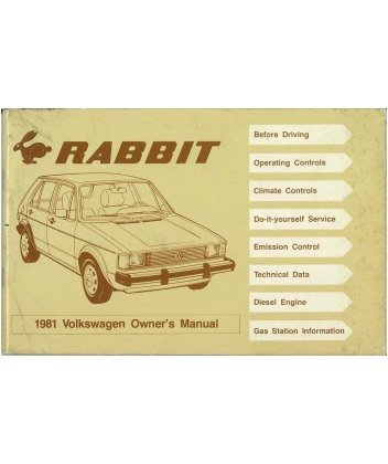 1981 Volkswagen Rabbit Owners Manual User Guide Reference Operator Book Fuses