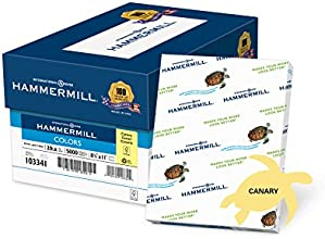 Hammermill Colors Canary 20lb 85 x 11 5000 Sheets10 Ream Case 103341C
