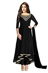 Awesome Fab Black Georgette Semi-Stiched Embroidered Anarkali
