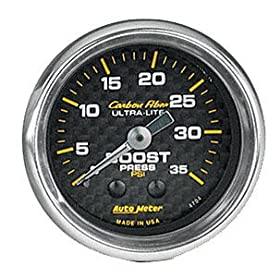 Auto Meter 4704 Carbon Fiber 2-1/16 inch 0-35 PSI Mechanical Boost Gauge