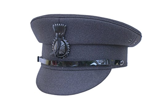 DARK GREY Chauffeurs Driver Cap With Cockade,Men's Formal Traditional Satin Lined HAT (61)