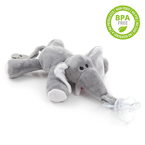 BabyHuggle Elephant Pacifier - 4 in 1 Animal Stuffed Binky, Soft Plush Toy with Detachable Silicone Baby Paci, Dummy Clip & Squeaky Sound. Teether Holder. 100% Safe & Soothing. Ideal Baby Shower Gift (Usa Made Stuffed Animals compare prices)