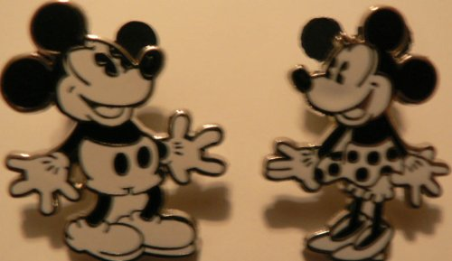 Disney Trading Pin Black & White Mickey and Minnie Mouse SET Lot WDW LOOK