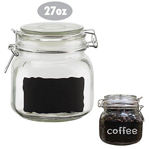 Chalkboard Label Glass Jar Canisters, Quality Clear Round Reusable with Air Tight Lids - Small 27 oz Canister (Small Airtight Glass compare prices)