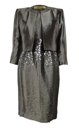 Amazon.com: Women's Evening Suit Shiny Dress & Jacket Set (2P, Pewter
