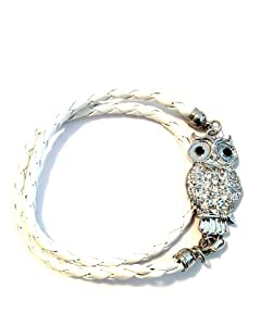 Silvertone Crystal Owl Lovers White Braid Wrap Around Bracelet