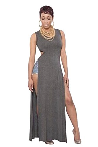 Ninimour- Womens Slit Bodycon Slim Fit Bandage Long Maxi Dress (S, Gray)