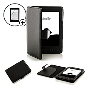"""Forefront Cases® Case Cover For Kindle 4, 6"""" E Ink Display, Wi-Fi, Black - Black Leather Case Cover Wallet Specially For Kindle, 6"""" E Ink Display, Wi-Fi, Black - Sept 2012 Release + SCREEN PROTECTOR"""