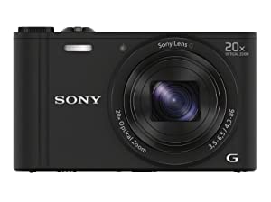 Sony DSCWX350 Compact Digital Camera with Wi-Fi and NFC - Black (18.2MP, 20x Optical Zoom)