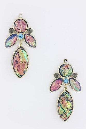 Baubles & Co Marquee Jewel Earrings (Blue/Purple) front-84942