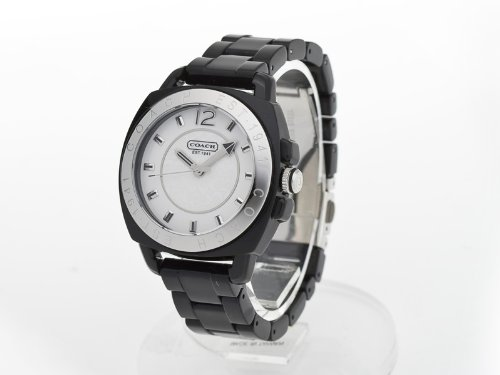Coach Women's Andee Boyfriend Watch 14501348 Black Acrylic Bracelet and Case White Signature Logo Dial
