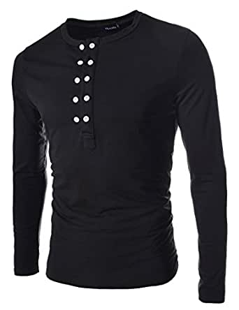 TheLees (DK13) Mens casual slim fit button point long sleeve tshirts BLACK Chest 38(Tag size M)