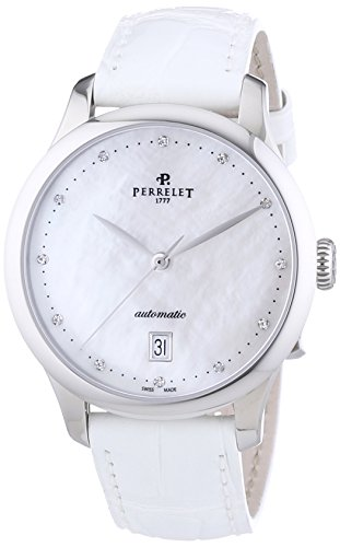 Perrelet First Class Lady Women's Automatic Watch with Mother of Pearl Dial Analogue Display and White Strap 2049/1