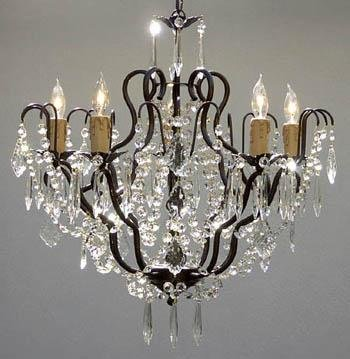 New! Tole Wrought Iron & Crystal Chandelier H22
