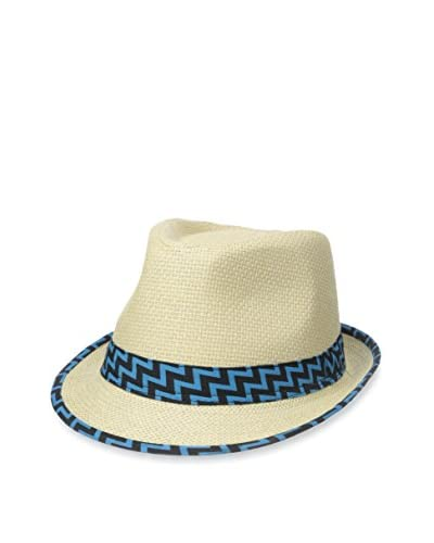 Magid Women's Straw Fedora, Natural/Turquoise