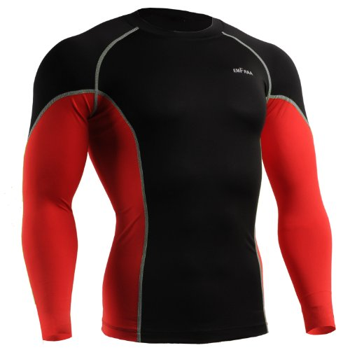 emFraa Men Women Skin Tight Baselayer T Shirt Running Black-Red Top Longsleeve S ~ 2XL