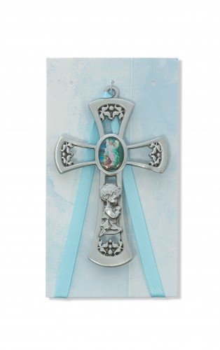 Pewter Blue Crib Cross with Card for Baby Boys