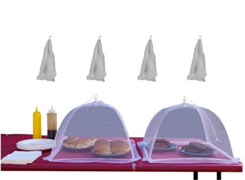 (4pk) 16 inch Collapsible Mesh Food Cover Tent Umbrella Set - to Protect from Flies and Bugs - Best Net Protector for Outdoor BBQ Party Picnic Wedding and Easy Fold Up Storage (Food Nets compare prices)